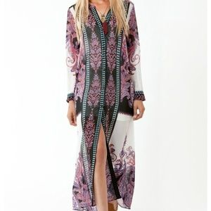 Hale Bob Large Sheer Paisley Maxi Button Up Dress